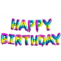 Other Self Inflating Happy Birthday Banner Balloon Bunting Silver 16 inch Letters Foil (Rainbow)