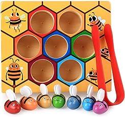 AOLVO Kleinkind-Bienen-Sammeln-Spielzeug, Hölzerne Spaß-Fang-Praxis-Bienenstock-Kasten für Baby-frühes Pädagogisches Montessori-Spiel