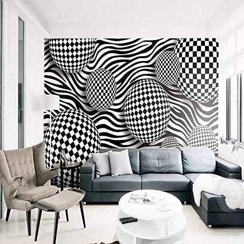 HQHZZQ Benutzerdefinierte große Wandbild 3D Tapete moderne kreative 3D Raum abstrakte Kugel Zebramuster TV Rückwand Dekor, 300x210 cm (118,1 von 82,7 in)