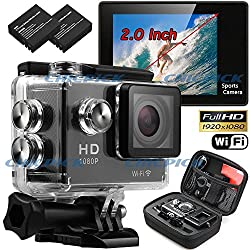 You Gadget Action Camera 1080P Waterproof Go Pro type Sports Video Camcorder with CMOS Sensor , Wi-Fi , Ultra HD 12MP 60fps 120 Degree Wide-Angle 2.0 Inch LCD Display USB 2.0 Micro SD Diving up to 30 Meters and 9 Mounting Accessories