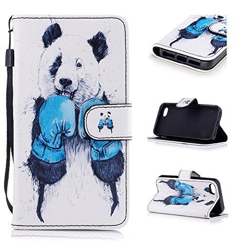 Custodia per iPhone SE / iPhone 5S / iPhone 5, Hancda Modello Elegante Disegni Cover Funzione Stand Custodia in Pelle Portafoglio di Cuoio Libro Sottile Flip Case Protettiva Chiusura Magnetica Antiurt Panda