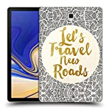 Ufficiale Pom Graphic Design Let's Travel New Roads Tipografia Cover Retro Rigida per Samsung Galaxy Tab S4 10.5 (2018)