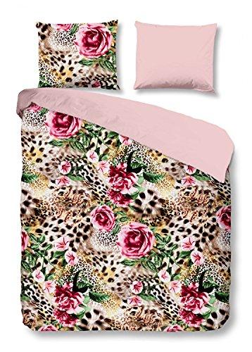 Good Morning Bettwäsche 5928 Rose Multi 100% Baumwolle Leopard Gepard Tierfellmuster, Größe:135x200 cm + 80x80 cm (Baumwolle 100% Leopard)