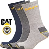Caterpillar Work Socks Cotton Pack of 3 Mens Navy and Grey Mix in Size UK 11-14 - Mul...