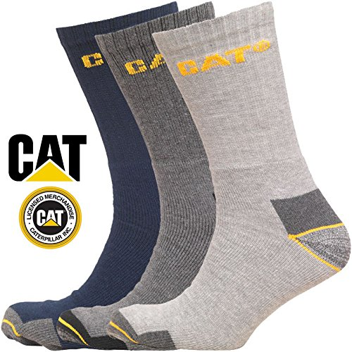 Caterpillar Work Socks Cotton Pack of 3 Mens Navy and Grey Mix in Size UK 11-14 - Multi Packs Available