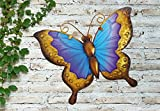 Blau & Violett Bunt Handbemalt Glas & Metall Garten Art Wand