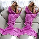 Handgemachte gestrickte Meerjungfrau Schwanz Decke, warme weiche flexible dehnbare Wohn- / Schlafraum Freizeit-Decke oder Schlafsack für Erwachsene 190cmX80cm (Fuchsie)