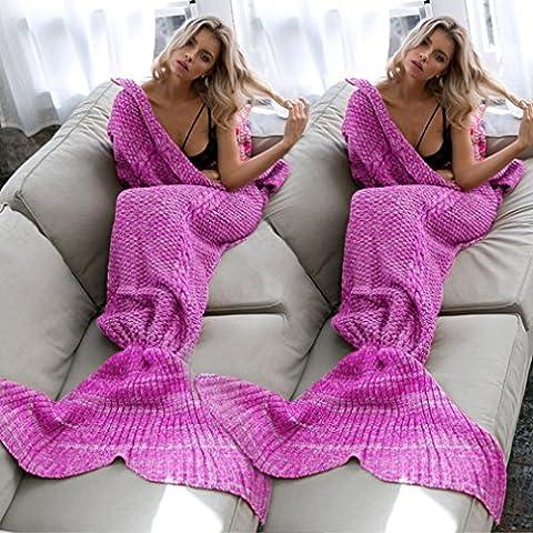 Handmade tricotée Mermaid Tail Blanket, chaud flexible souple Extensible Salon / Chambre Chambre Loisirs Blanket ou Sac de couchage pour les adultes 190cmX80cm (Fuchsia)