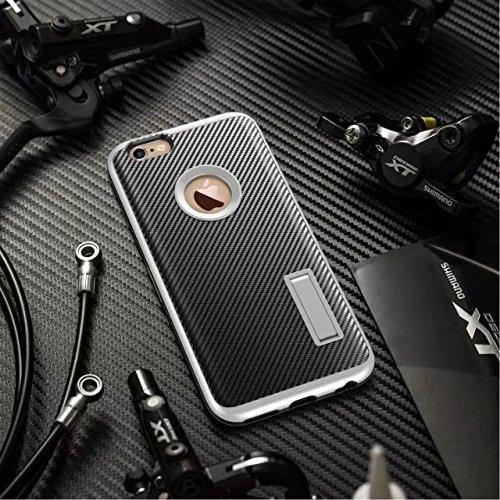 iPhone 6S Schutzhülle, Valenth Carbon-Faser-Hybrid-Gleitschutzgriff Ganzkörper-Schutz-Hülle mit Ständer für iPhone 6S 1#