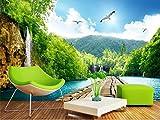 Yosot Custom 3D Fototapete Wandbild Non-Woven Wohnzimmer Wasserfall Holzbrücke 3D-Landschaft Fernseher Sofa Hintergrundbild Home Decor-250Cmx175Cm