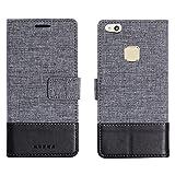 muxma Huawei P10 Lite Textilgewebe Kunstleder Tasche Schutzhülle Handyhülle Visitenkartenfach und Standfunktion (Schwarz)