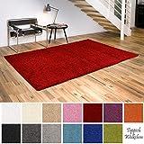 Shaggy-Teppich | Flauschige Hochflor Teppiche für Wohnzimmer Küche Flur Schlafzimmer oder Kinderzimmer | Einfarbig, schadstoffgeprüft, allergikergeeignet (Rot, 160 cm rund)