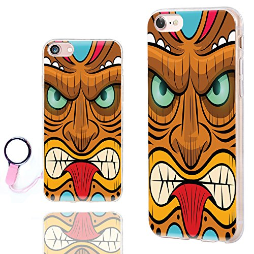 iPhone 8 Fall Cool, iPhone 7 Fall Niedlicher, chichic [Orignal Serie] Kratzfest Slim Flexible Soft TPU Gummi Fällen Cover für Apple iPhone 7 8 11,9 cm, Gelb Rot Mint Tribal Tiki Maske