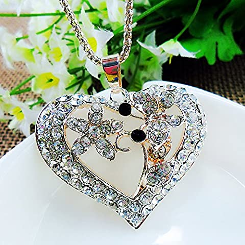 Beautiful Bead Golden Corn Chain Rhinestones Studded Butterflies over Flowers Heart Pendent Necklace for Sweater Decoration(1Pcs)