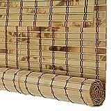 WENZHE Bambusrollo Fenster Sichtschutz Rollos Holzrollo Bambus Raffrollo Innen Draussen Wasserdicht Schimmelbeweis Abgeschnitten Bildschirm, Bambus, 4 Stile, 17 Größen Wahlweise
