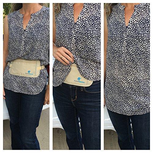 Flache Bauchtasche mit RFID-Blockierung Geldversteck Multifunktional Hüfttasche Laufgürtel Brustbeutel zum Sport Reisen Fitness oder Joggen (Beige / Braun) Beige
