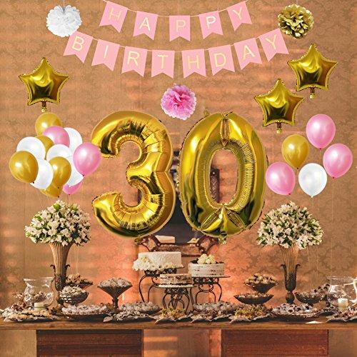 Globos Cumpleaños Happy Birthday #30 Suministros y Decoración por Belle Vous Globo Grande de Aluminio 30 Años Decoración Globos De Látex Dorado Blanco y Rosa Apto para Todos los Adultos