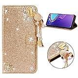 Miagon Hülle Glitzer für Samsung Galaxy S9 Plus,Luxus Diamant Strass Herz PU Leder Handyhülle Ständer Funktion Schutzhülle Brieftasche Cover,Gold