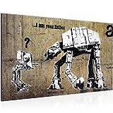 Bilder Banksy - I am your Father Street Art Wandbild Vlies - Leinwand Bild XXL Format Wandbilder Wohnzimmer Wohnung Deko Kunstdrucke Braun 1 Teilig -100% MADE IN GERMANY - Fertig zum Aufhängen 302014a
