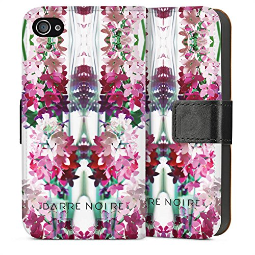 Apple iPhone 4 Housse Étui Silicone Coque Protection Fleurs Fleurs Motif Sideflip Sac