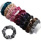 FAMEZA Velvet Elastic Flannelette Hair Bands Scrunchies Ropes for Women (Set of 10 ; Multicolour)