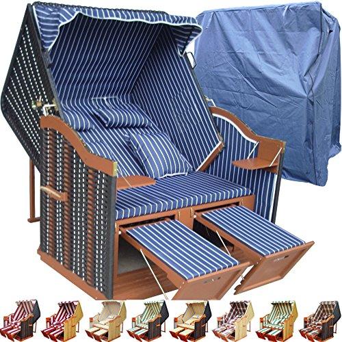 �nstig kaufen für Garten u. Balkon inkl. Luxus Strandkorbhülle - blau mit schwarzem Polyrattan und braunem Holz, Form Ostsee Strandkorb (Kunststoff-kissen-abdeckungen)