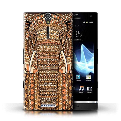 KOBALT® Hülle Case für Sony Xperia S/LT26i   Wolf-Sepia Entwurf   Aztec Tier Muster Kollektion Elefant-Orange