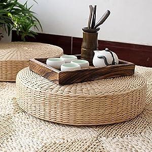 Bureze Meditationsmatte, 40 cm, rund, Tatami, natürliches Stroh, Meditationsmatte, Yoga, Zafu