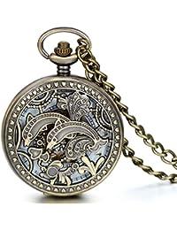 Cadena Vintage hueco JewelryWe Bronce Reloj de bolsillo con movimiento mecánico de delfín para hombre pantalones de deporte para mujer de bolsillo para colgar de