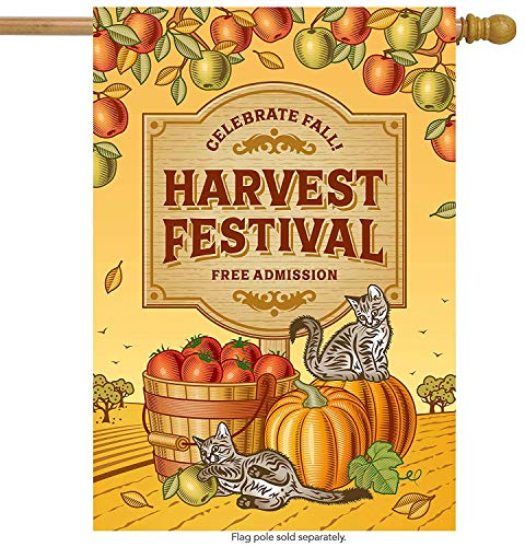 Thanksgiving Day Autumn Harvest Festival Cat House Flag Double Sided, Polyester Pumpkin Apple Fruit Welcome Yard Garden Flag Banners for Patio Lawn Outdoor Home Decor Size: 12.5-inches W X 18-inches H Apple Harvest Festival