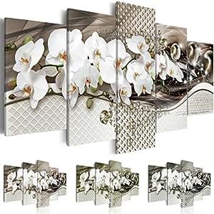 Quadro 200x100 cm ! Tre colori da scegliere - 5 Parti - Grande formato - Quadro su tela fliselina - Stampa in qualita fotografica -- Fiore Orchidea Perle b-A-0244-b-n 200x100 cm B&D XXL
