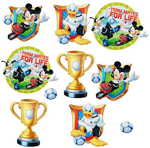 alles-meine.de GmbH 10 TLG. Set _ Wandtattoo / Sticker -  Mickey Mouse - Fußball  - Wandsticker - Aufkleber für Kinderzimmer - selbstklebend + wiederverwendbar - Donald Duck / ..