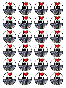 X24 1.5 Inch I Love BMX Bikes Birthday Cup Cake Toppers Decorations On Edible Rice Paper