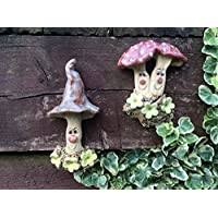 Fairy garden mushrooms, happy face mushroom men, wall, tree, shed decoration, handmade, ceramic and frost proof. SOLD AS A PAIR.
