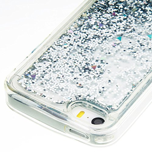 Nnopbeclik Silikon Transparent Hülle Für Apple Iphone SE 5 5G 5S, Durchsichtig Ultra Slim Weich TPU Cover Case Creative Flüssiger Sequins Diamant 3D Bling Bling Blume Case Etui, Schutzhülle Muster Glä Blume E
