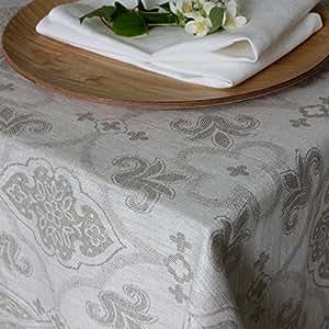 La nappe jacquard lin 180x250 cm gris