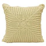 Decorativo Cojín ganchillo Décor casero banda funda de almohada de algodón blanco de 16 x 16 pulgadas