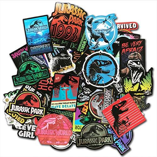 YLGG Jurassic Park Dinosaurier Aufkleber PVC Kinder Spielzeug Graffiti Aufkleber Für Skateboard Gepäck Laptop Gitarre Auto Motorrad 75 Stücke