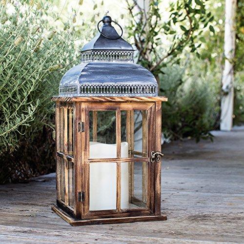 Holz Laterne mit LED Kerzen Lights4fun