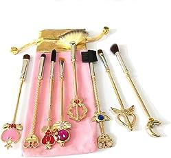 Dilla Beauty - Pennelli per il make-up, motivo: Sailor Moon, per conturing, correttore, fondotinta, con sacchetto alla moda di colore rosa, colore: Oro