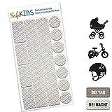 Motoking SafeKIDS Leuchtaufkleber, WEISS, 13 Stück für Kinderwagen Fahrrad Helm und mehr