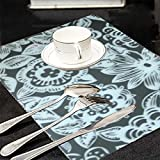 #10: Kuber Industries Black & White Print Table Placemats - Set Of 6 Table Mats & 6 Coasters - Plastic Kitchen Linen (Assorted Design) Code-PLAC08