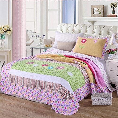 Young17 Bettwäsche-Sets für 1-1,3 M Bett Baumwolle Patchwork gesteppte Tagesdecke handgefertigte Bettwäsche Bettbezug Set Kinder Single 180*220cm