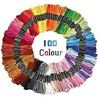 Buwant Hilos de bordar punto de cruz manualidades 50/100/150 madejas Cruz hilo de coser Kit, Multicolor, 100 Skeins Per Pack