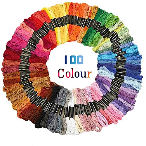 Stickgarn Sticktwist set Nähgarne Stickerei Basteln Crafts Floss Set Sticktwist 314inch 6-fädig Bunt Multicolor stickgarn baumwolle für Kreuzstich Basteln Freundschaftsbänder,100 Docken (100% Baumwolle-thread)