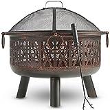 VonHaus Feuerkorb / Feuerschale mit geometrischem Design aus dekorativem schwarzem Stahl mit Funkenschutz und Schürhaken – Kohlebecken & Terrassenofen