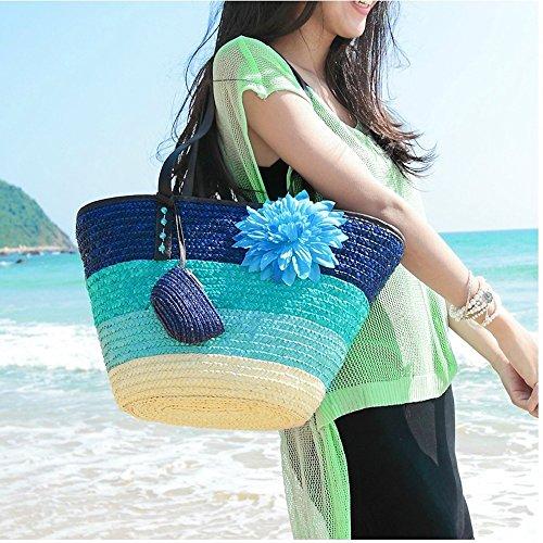 DELEY Donne Moda Arcobaleno Fiore Estate Spiaggia Vacanza Paglia Borsa Borsa A Tracolla Blu