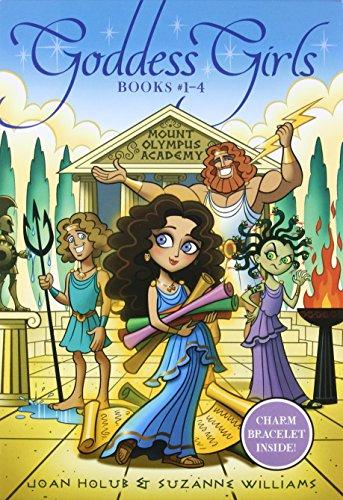 Goddess Girls Books #1-4 (Charm Bracelet Inside!): Athena the Brain; Persephone the Phony; Aphrodite the Beauty; Artemis the Brave