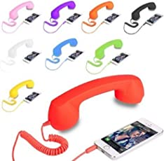J N Retail Radiation Free Phone 3.5mm Jack Wired Retro Handset Receiver Compatible for All Smart Phones, Laptop, PC, iPad, etc (Colour May Vary)