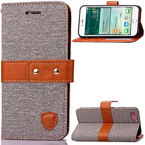 iPhone Case Cover Housse souple en TPU Cowboy Jeans Housse en cuir PU avec fermeture mi-portée Housse en cuir pour iPhone 4 ( Color : Gray , Size : IPhone 7 ) Gray
